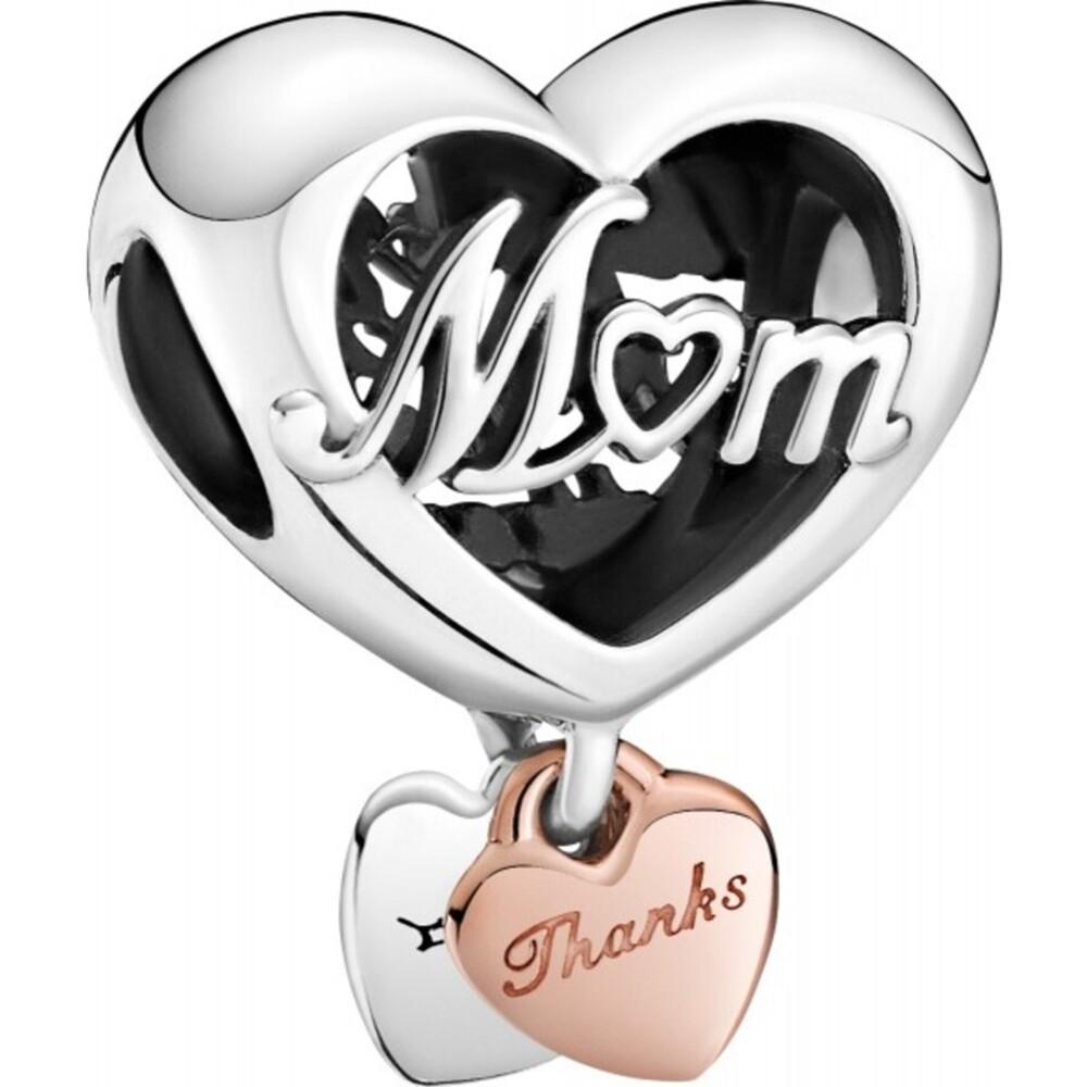 Pandora Moments Charm 789372C00 Thank You Mum Heart Silber 925 Rose Metall