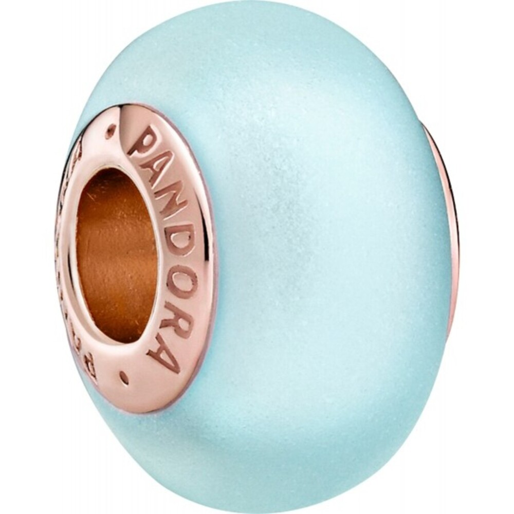 Pandora Moments Charm 789420C00 Matte Blue Murano Glass Rose Metall