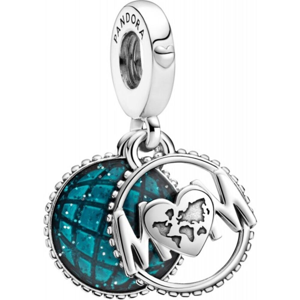 Pandora Moments Charm 799368C01 Glitter Globe Mum Silber 925 Blaue Kristalle