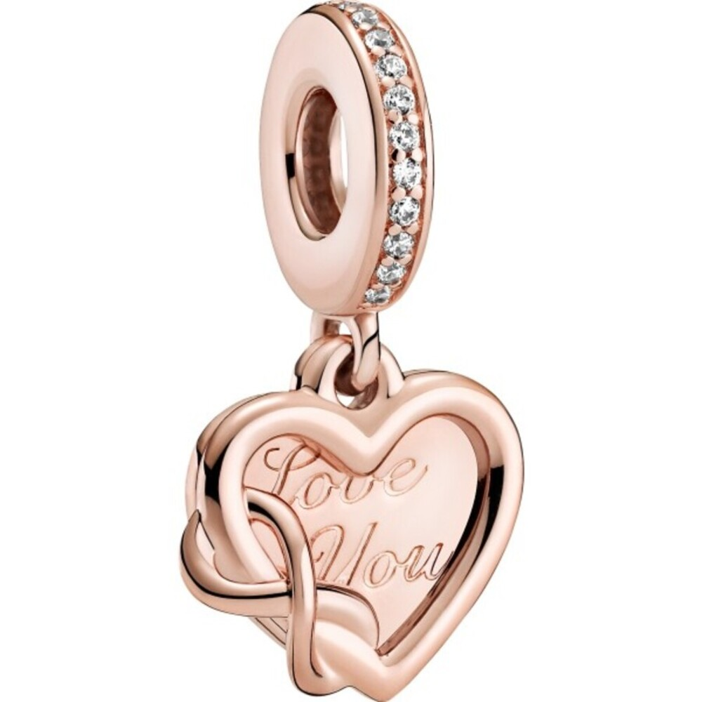 Pandora Moments Charm 789369C01 Love You Infinity Heart Rose Metall Klare Zirkonia