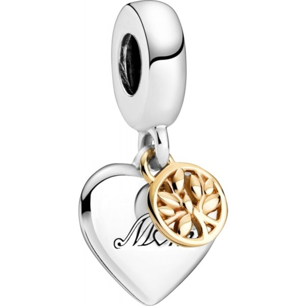 Pandora Moments Charm 799366C00 Two-tone Family Tree And Heart Silber 925 Gold 14 Karat