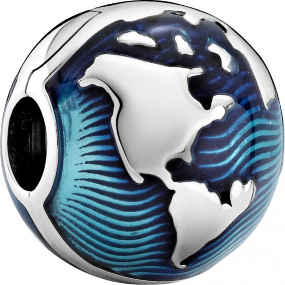 Pandora  Blue Globe Clip Charm Silber 925 Sommerkollektion Moments 2021 Weltkugel blue Enamel 799429C01