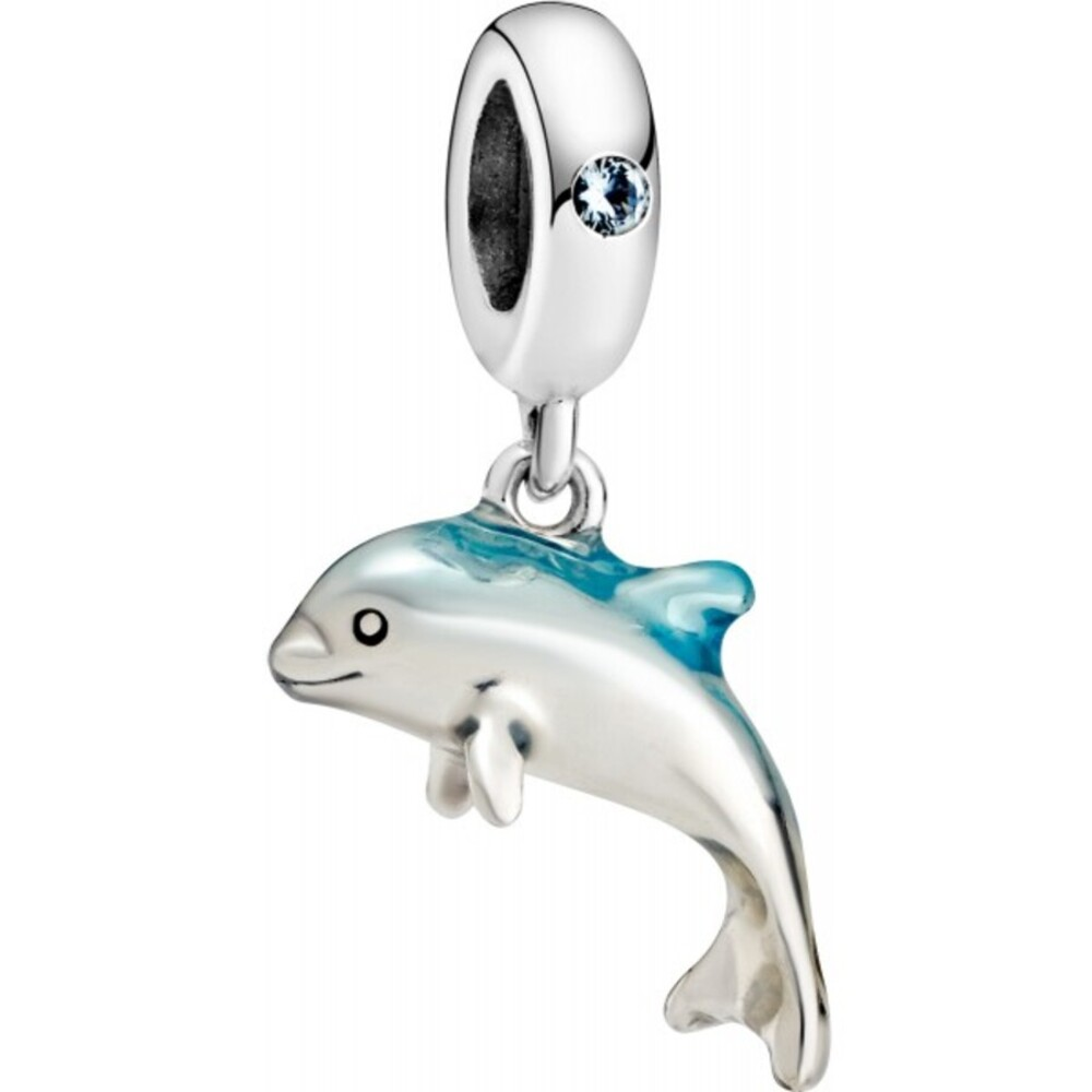 Pandora Delfin Charm Silber 925 Shimmering Dolphin green Crystal blue enamel 798947C01
