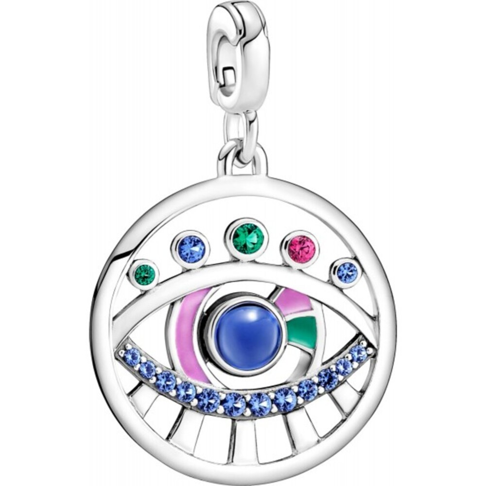 Pandora Me Charm Medaillons 799668C01 The Eye Medallion Sterling Silber 925 synth Rubin mix Kristalle mix Emaille