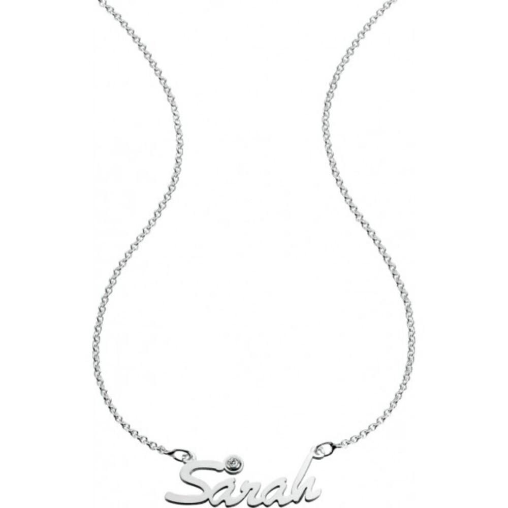 Namenskette Silber Sterlingsilber 925/- mit Zirkonia Personalisierte Kette