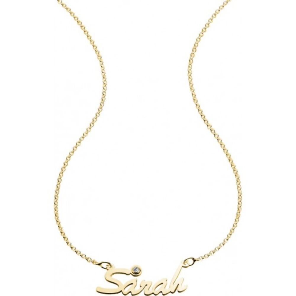 Namenskette Silber Sterlingsilber 925/- vergoldet mit Zirkonia Personalisierte Kette
