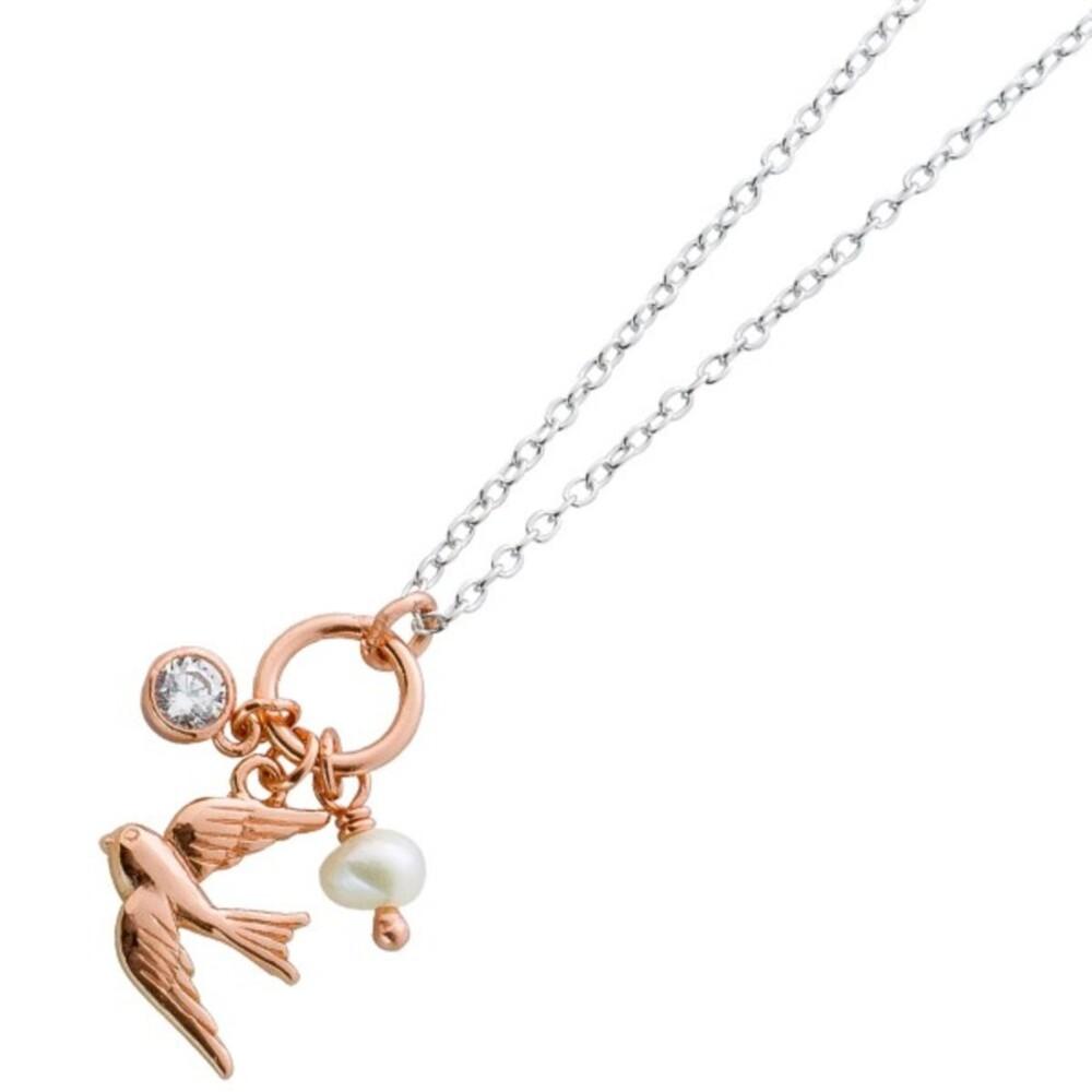 Halskette Silber 925 Rosegold Schmuck Anhänger rosévergoldet Vogel Zirkonia Süßwasserperle