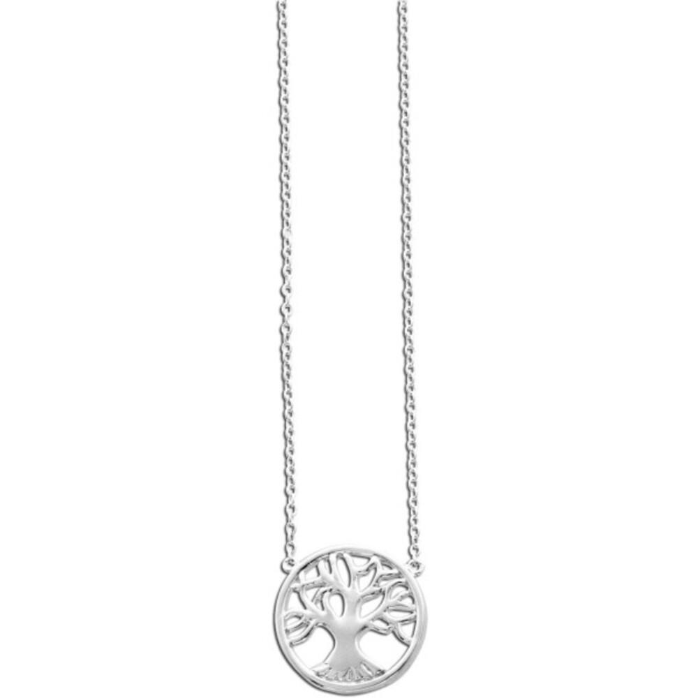 Silberkette Damen Collier Lebensbaum-Anhänger - 925er Sterling Silber rhodiniert