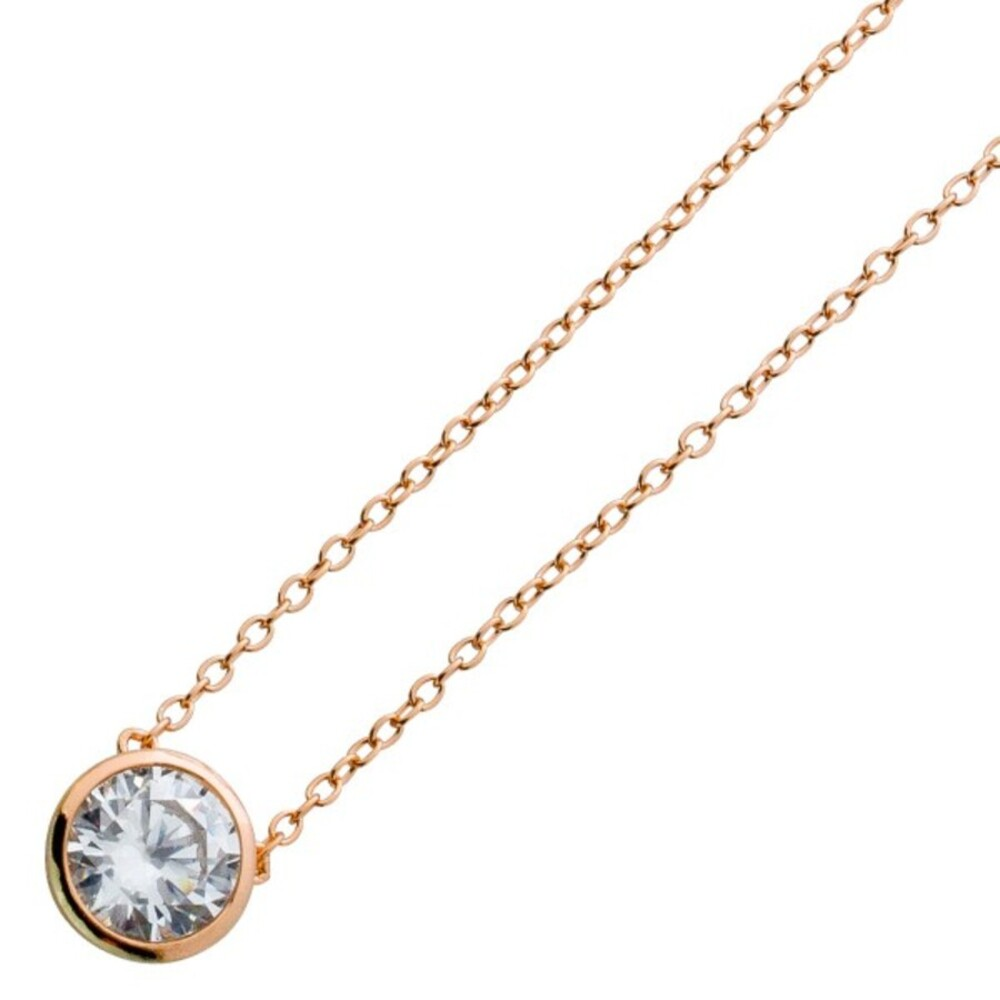 Zirkonia Kette Solitäranhängerkette Silberkette Silber 925 rose vergoldet weisse  Zirkonia 40+5cm_02