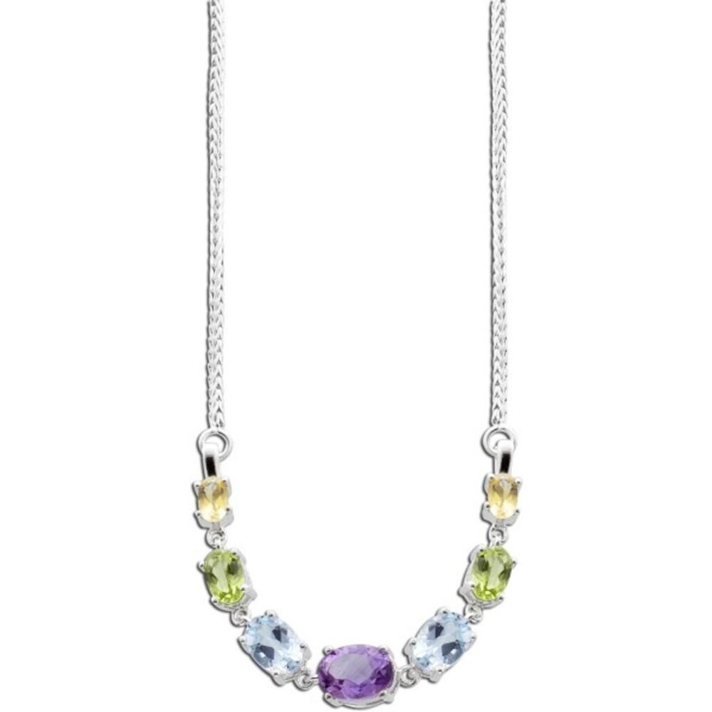 Bunte Edelstein Silberkette 925 lila Amethyst grüner Peridot Blautopas gelber Citrin_01