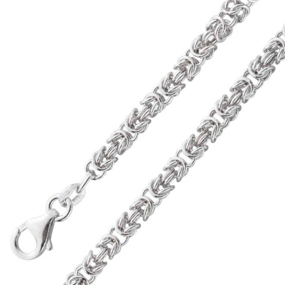 Königskette 4mm  Herrenkette rund Halskette Armband Königsarmband Sterling Silber 925 poliert_01