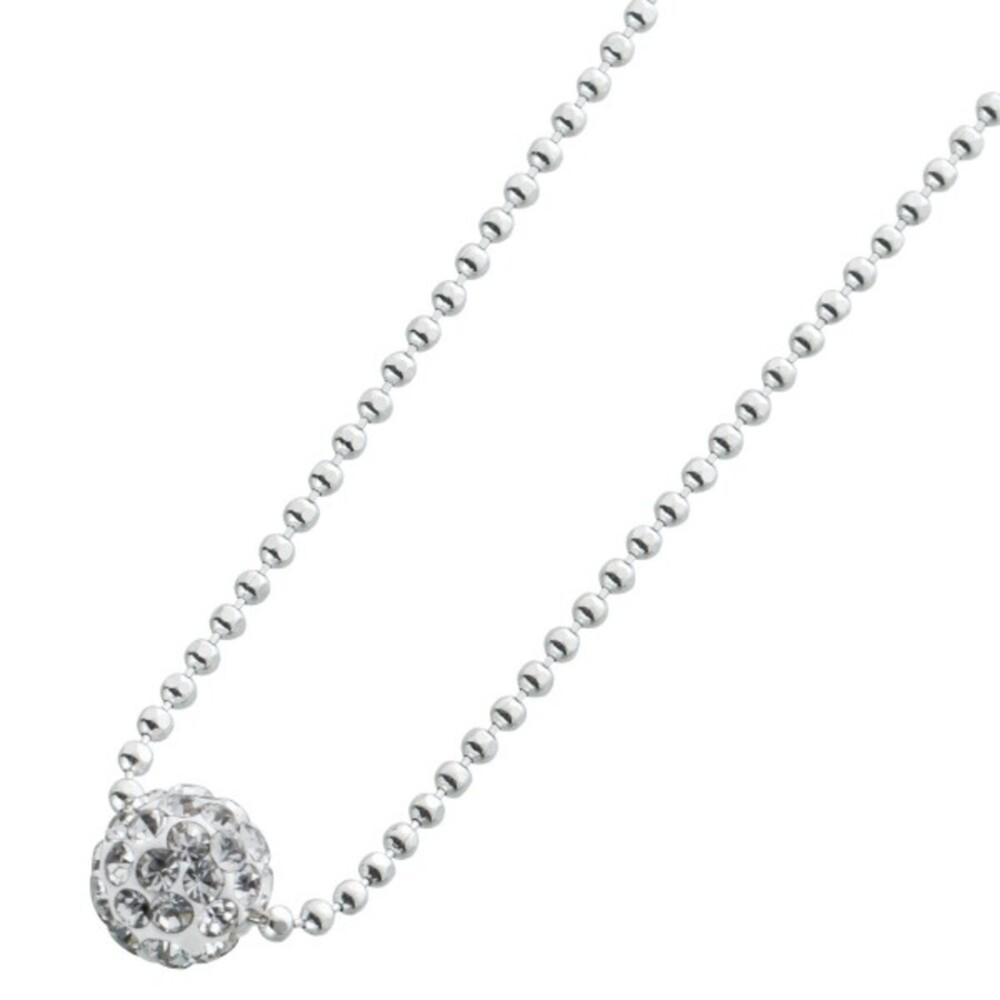 Runde Kristallkugelkette Halskette Sterling Silber 925/- 1