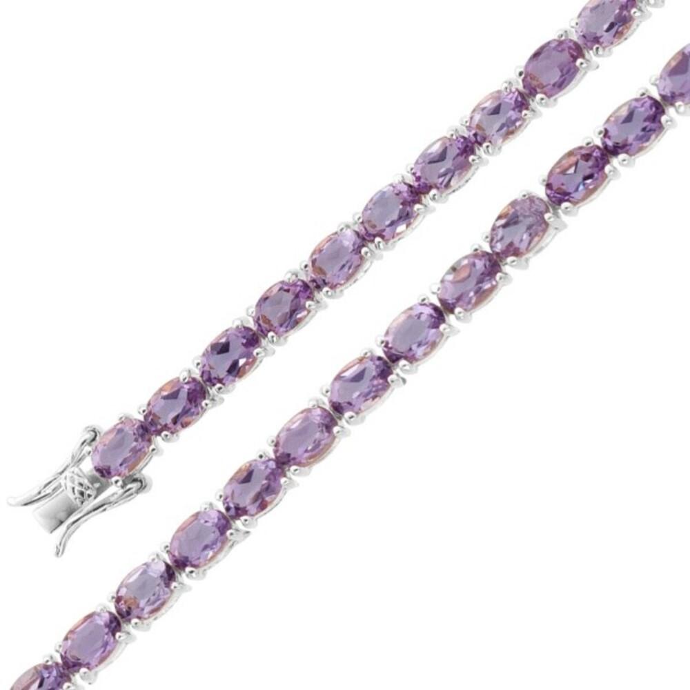 Violettes Amethystarmband Silber 925 violetter lila Edelstein_01