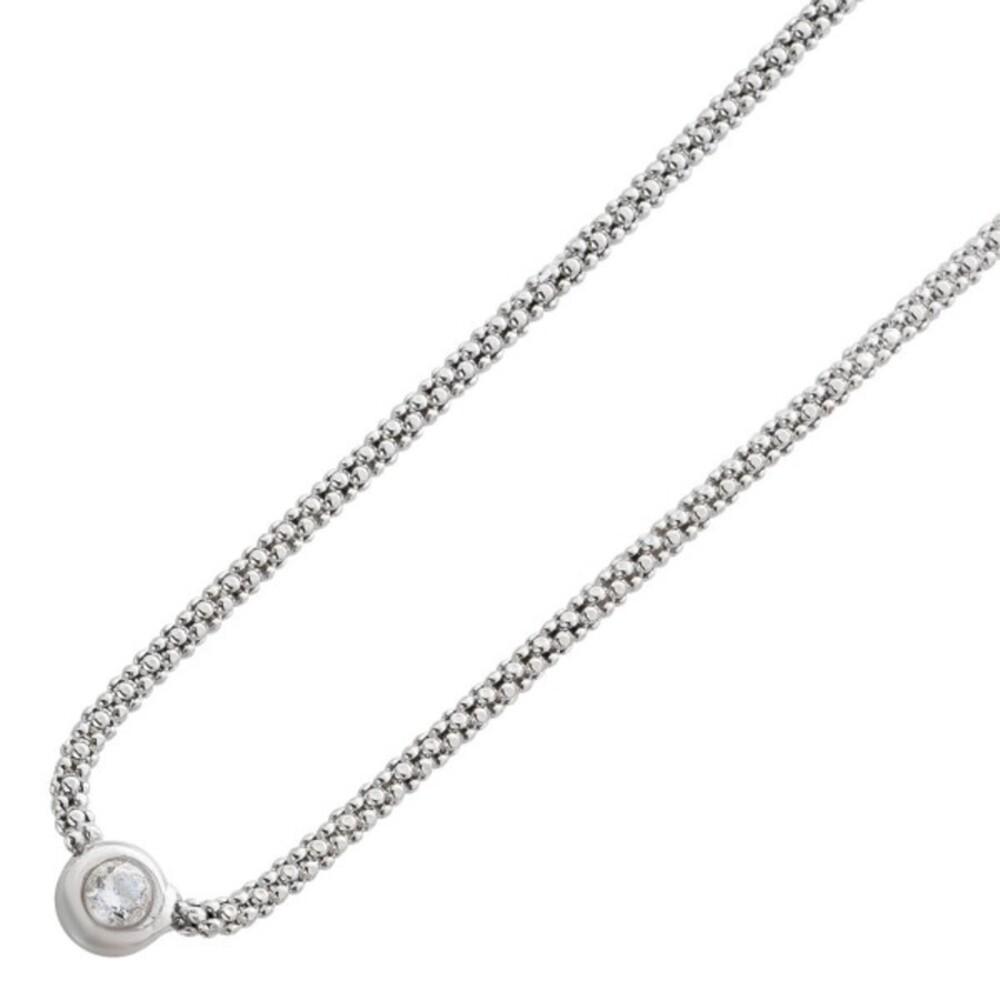 Zirkonia Halskette Popkornkette Zirkoniaanhänger Silberkette Sterling Silber 925Klarer Zirkonia  _01
