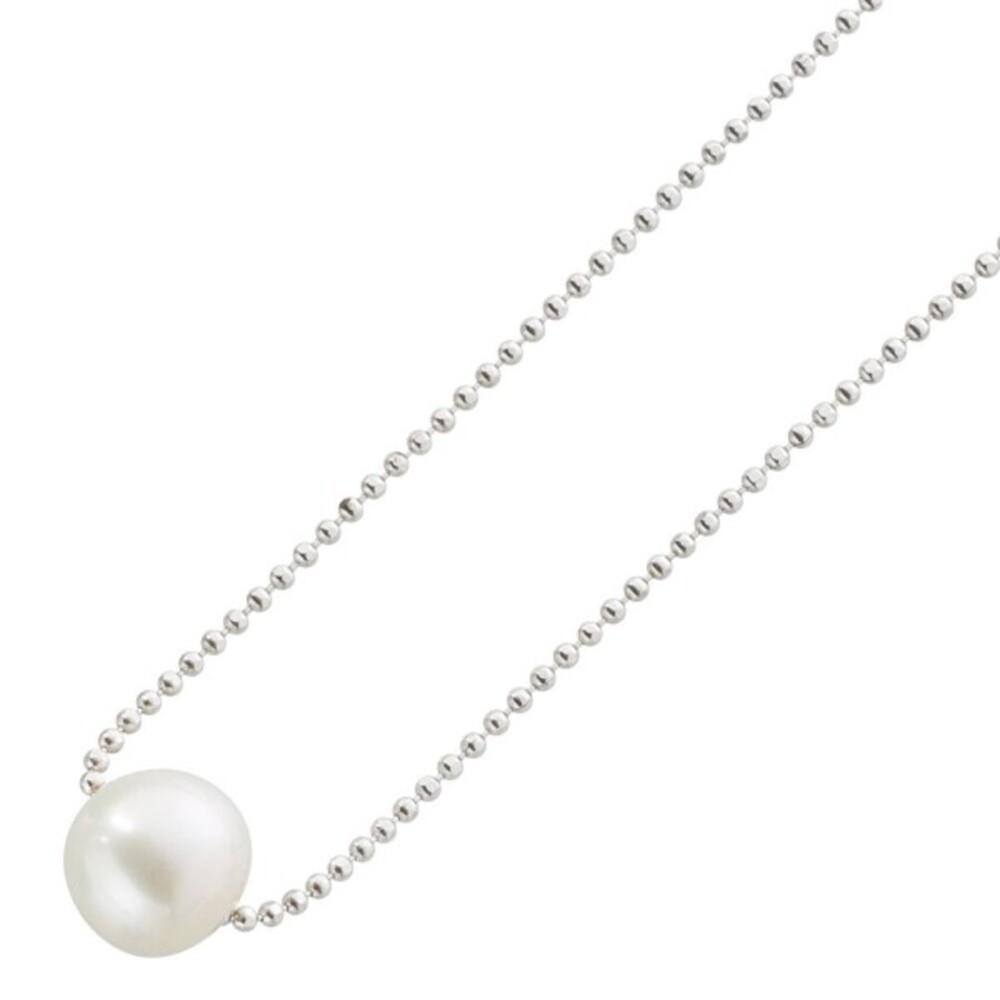 Perlen Collier Kette Silberkette Silber 925 weisse runde Süßwasserzuchtperle facettierte Kugelkette_01