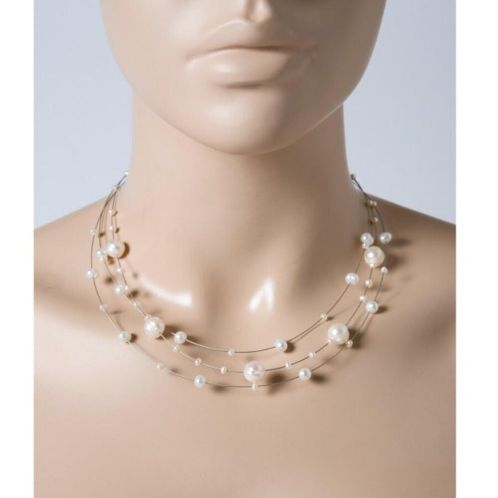 Perlenkette - Perlencollier Perlenreif  3-reihig Sterling Silber 925 Süsswasserzuchtperlen_1