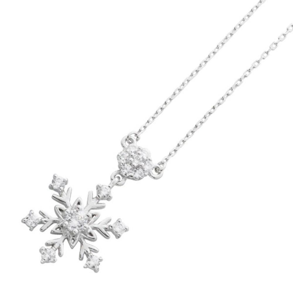 Silber Halskette Schneeflocken Anhänger Zirkonia Sterling Silber 925  Damenschmuck _1