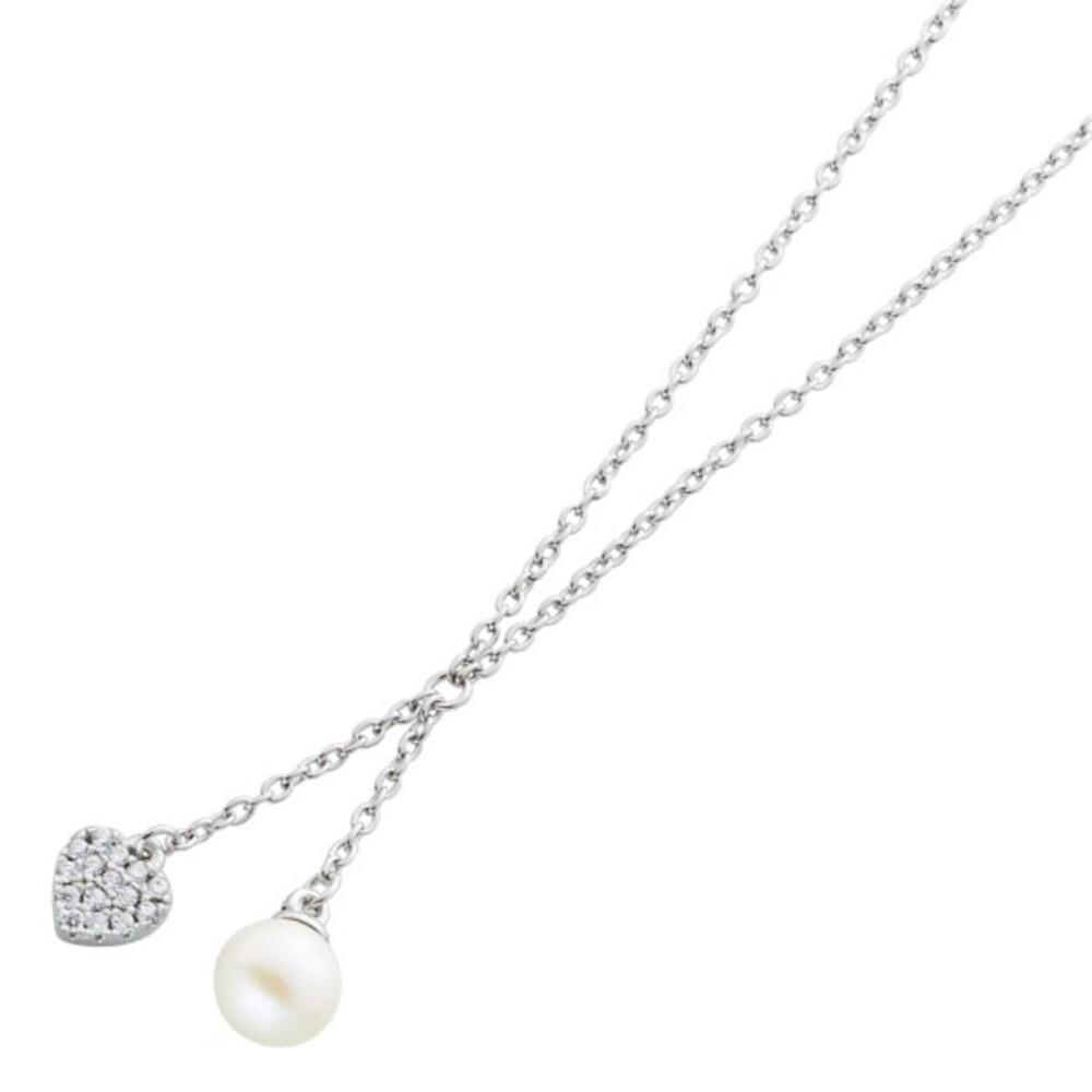 Herzkette Perlenkette Silber Damen Kinderkette Silber 925 weisse runde Süsswasserzuchtperle Zirkonia Herz klare Zirkonia _:01