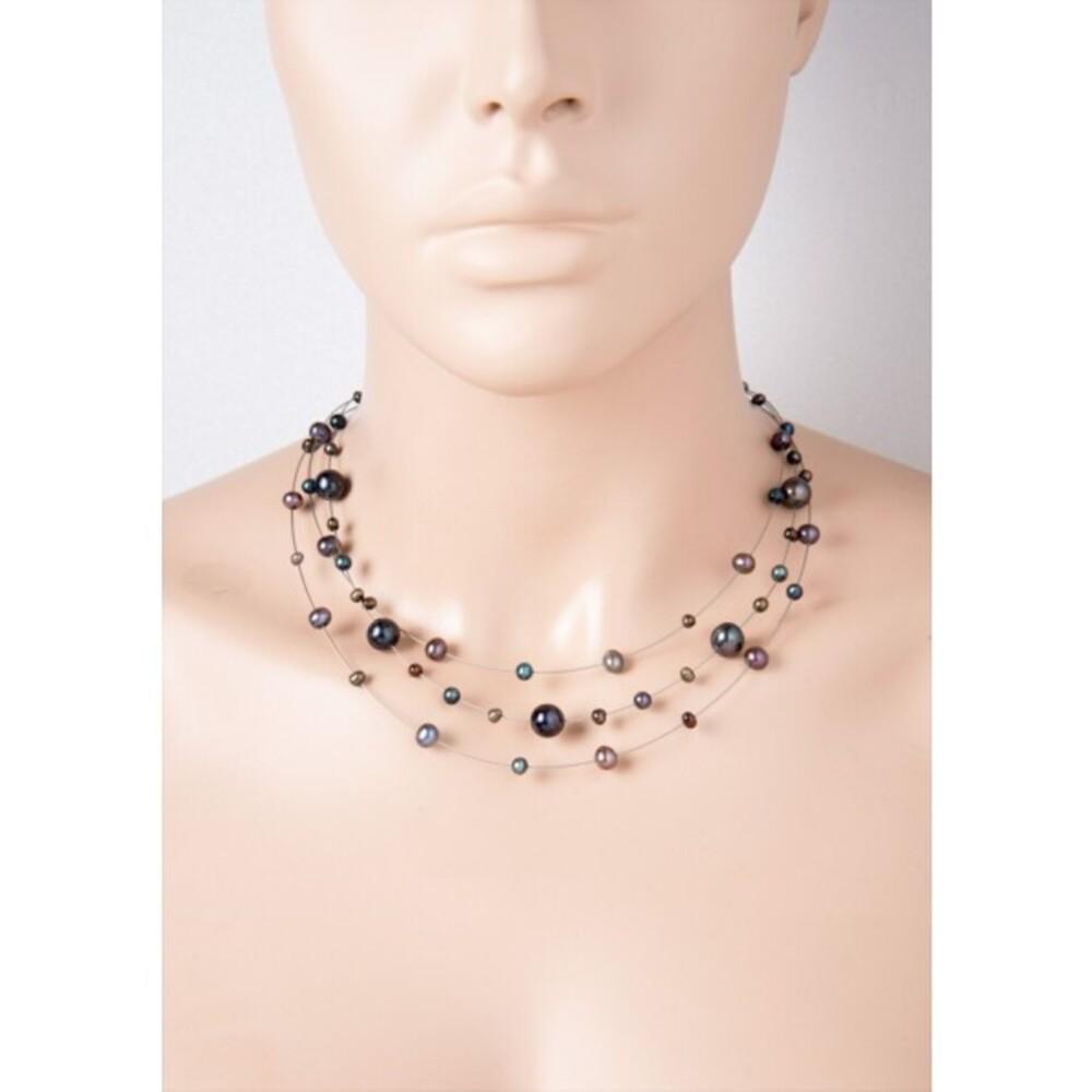 Perlenkette - 3reihig Stahldraht schwarzen Süßwasserzuchtperlen Sterling Silber 925