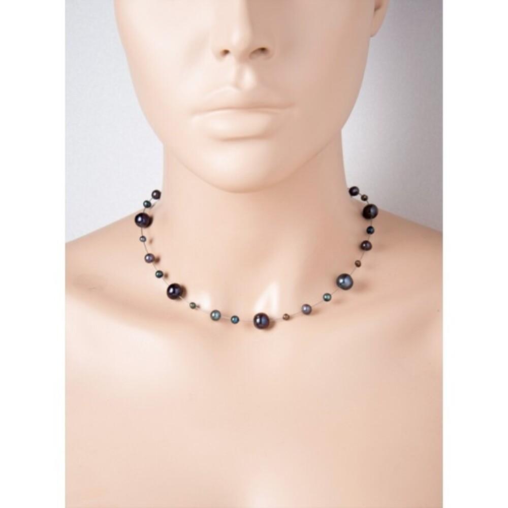 Kette Perlen schwarz Halsreif Edelstahl Süßwasserzuchtperlen_01