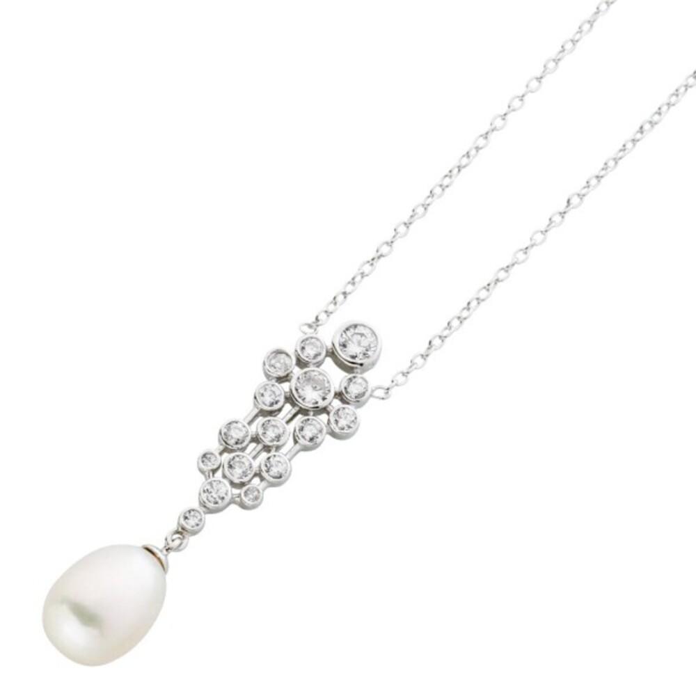 Silber Ankerkette weißer Süßwasserzuchtperle Silber 925 Zirkonia 1
