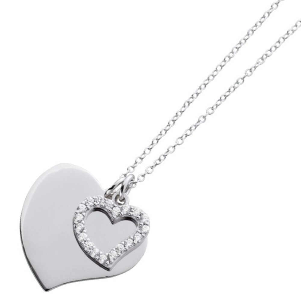 Herzkette gravierbar Sterling Silber 925 Zirkonia Ankerkette personalisierbarer Schmuck 1