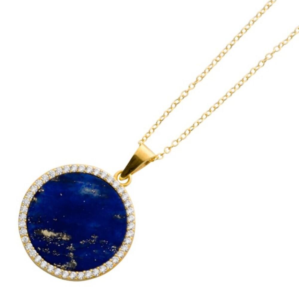 Edelsteinkette blauer Anhänger Lapislazuli Sterling Silber 925 vergoldet klare Zirkonia_01