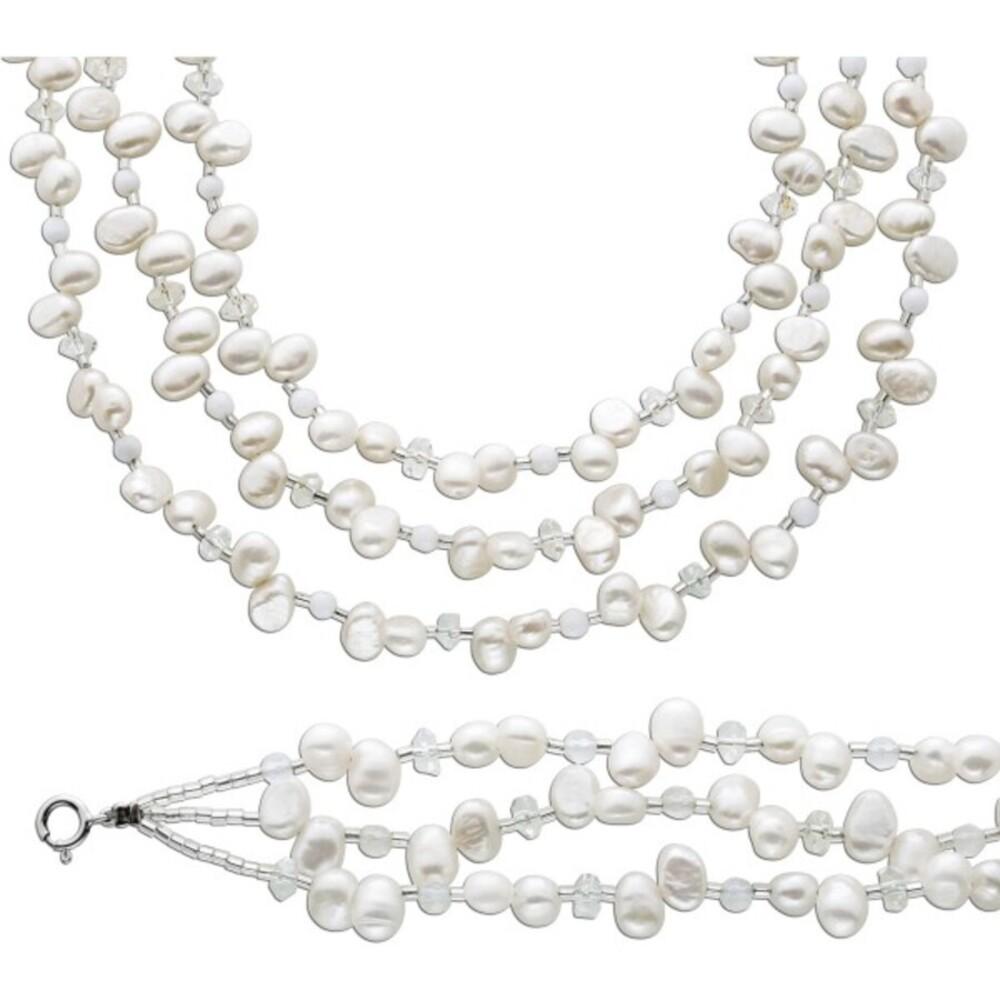 Perlenkette Perlenarmband Set Perlen weiß Kette Armband Silber 925 Kristalle_03