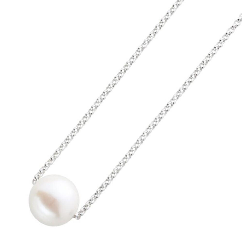 Perlen Anhänger Kette Silber 925 weisse runde perle Zirkonia 1
