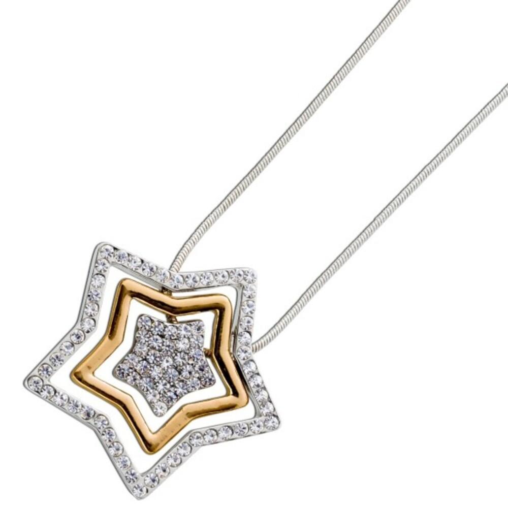 Kette Stern Anhänger Gold Silber farben Metall Kristalle Crystal Blue_03