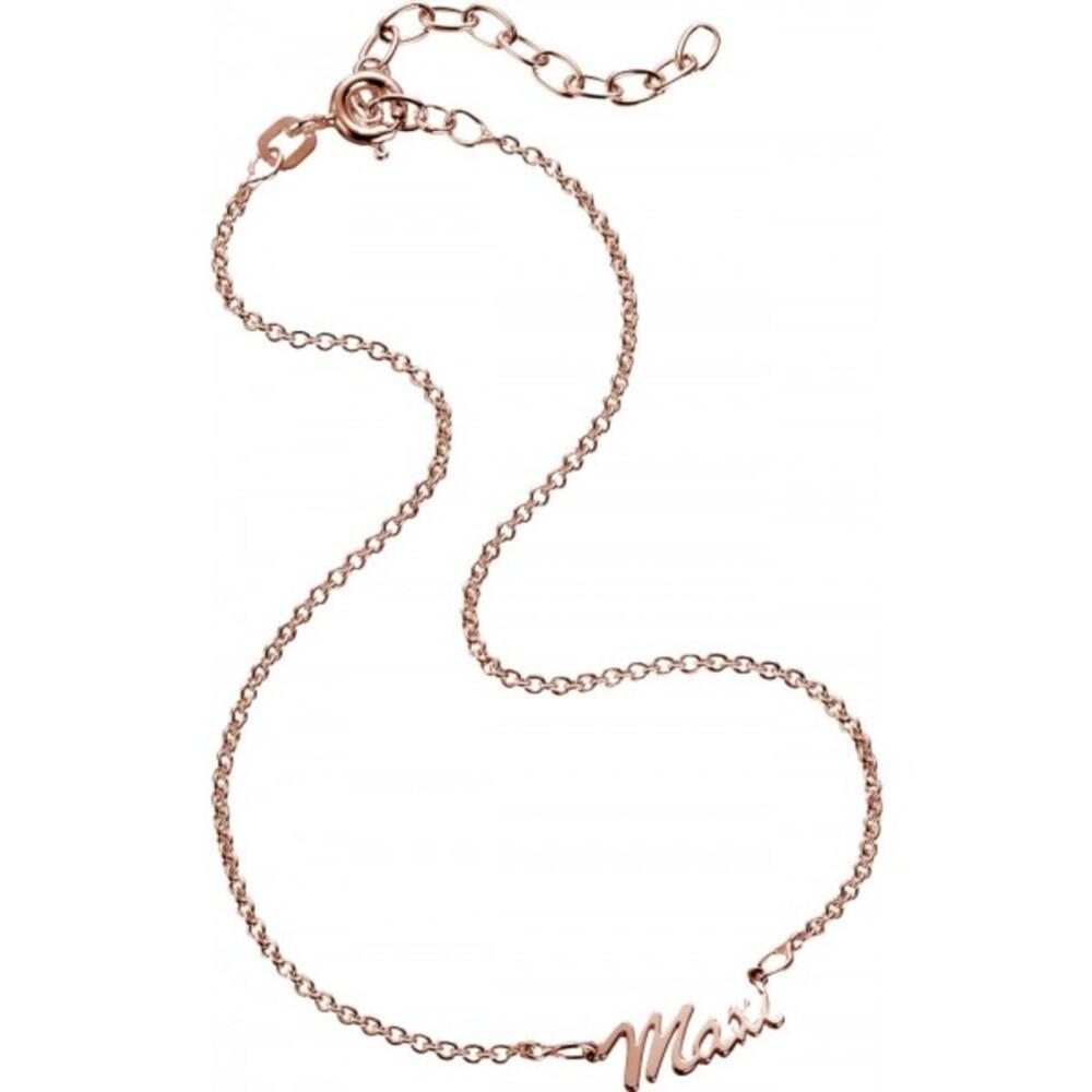 Namenskette Fusskette Kette Name individuell Silber 925 rose, 24+5cm
