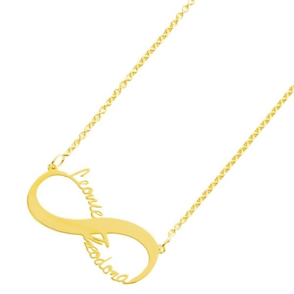Namenskette Kette Name Silberkette Namensschmuck gold farben Unendlichkeitszeichen Silber 925 vergoldet, 38+5cm