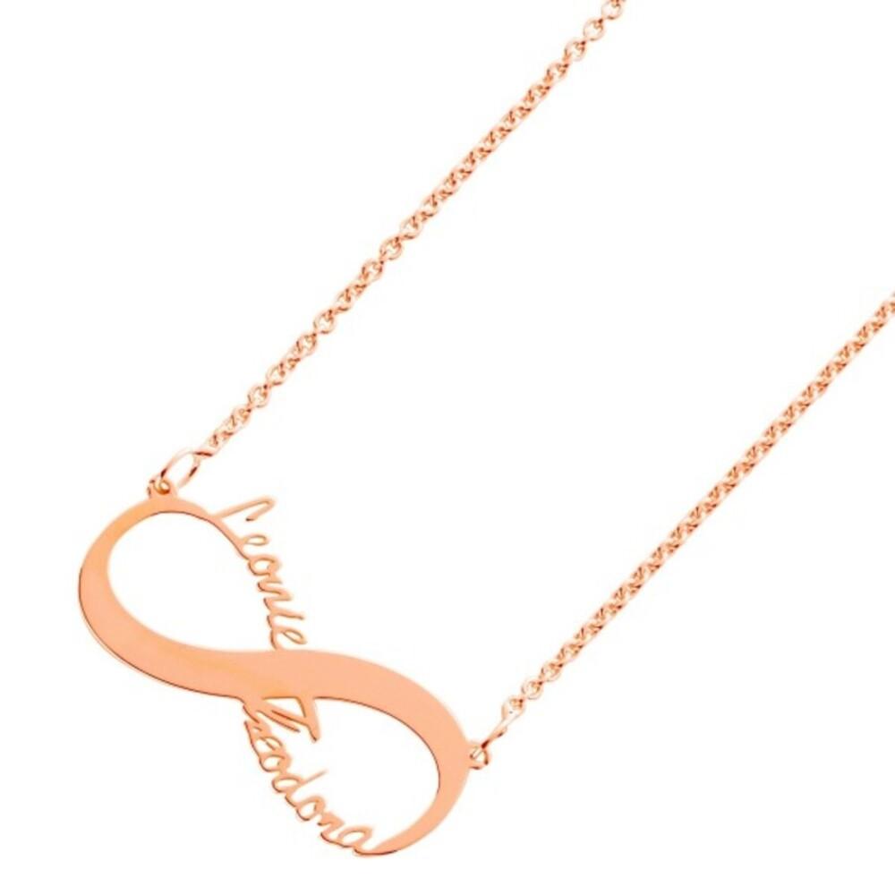 Namenskette Kette Name Silberkette Namensschmuck Silber Unendlichkeitszeichen Silber 925 Rose, 38+5cm