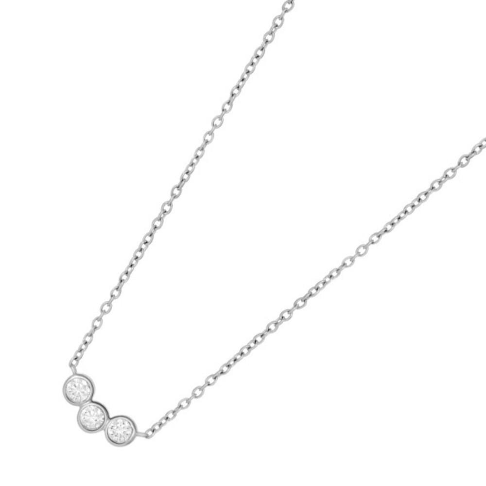 JOANLI NOR Halskette Silber 925 klare Zirkonia Cristin Anhänger Zwischenteil Länge 42+3cm