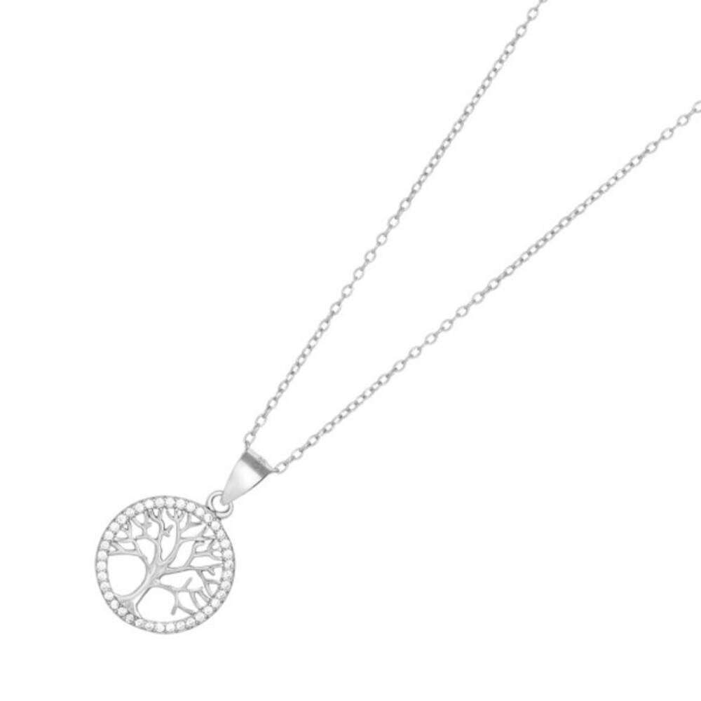 JOANLI NOR Halskette Lebensbaum Silber 925 Anhänger klare Zirkonia Durchmesser 15mm Caia 245 099