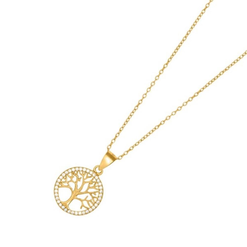 JOANLI NOR Halskette Lebensbaum Silber 925 vergoldet klare Zirkonia Durchmesser 15mm Caia 245 099-3
