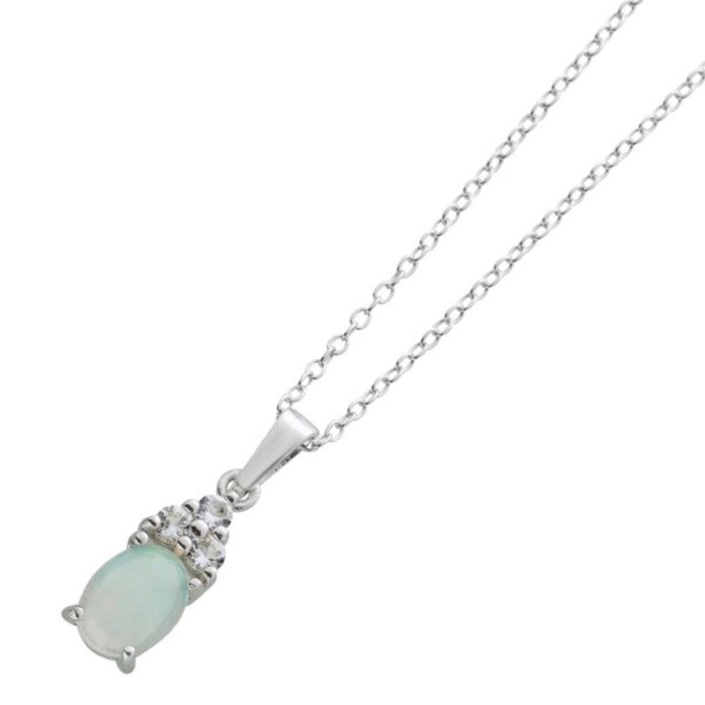 Ankerkette ovalförmigen Opal weißen Topasen Silber 925 Damenschmuck 1