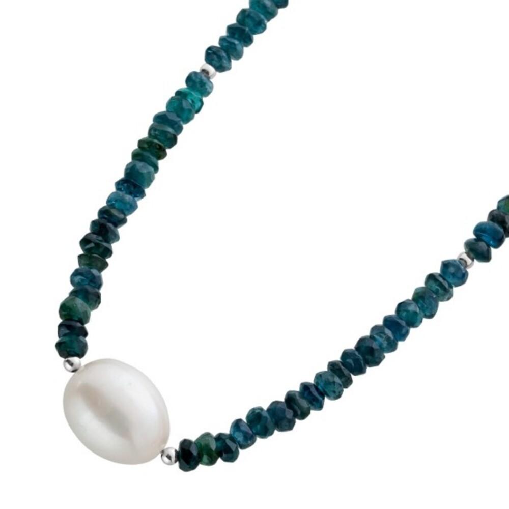 Turmalin Perlen Kette Collier Silber 925 Blau Grüner Farbverlauf weisse Südseeperle 37+5cm