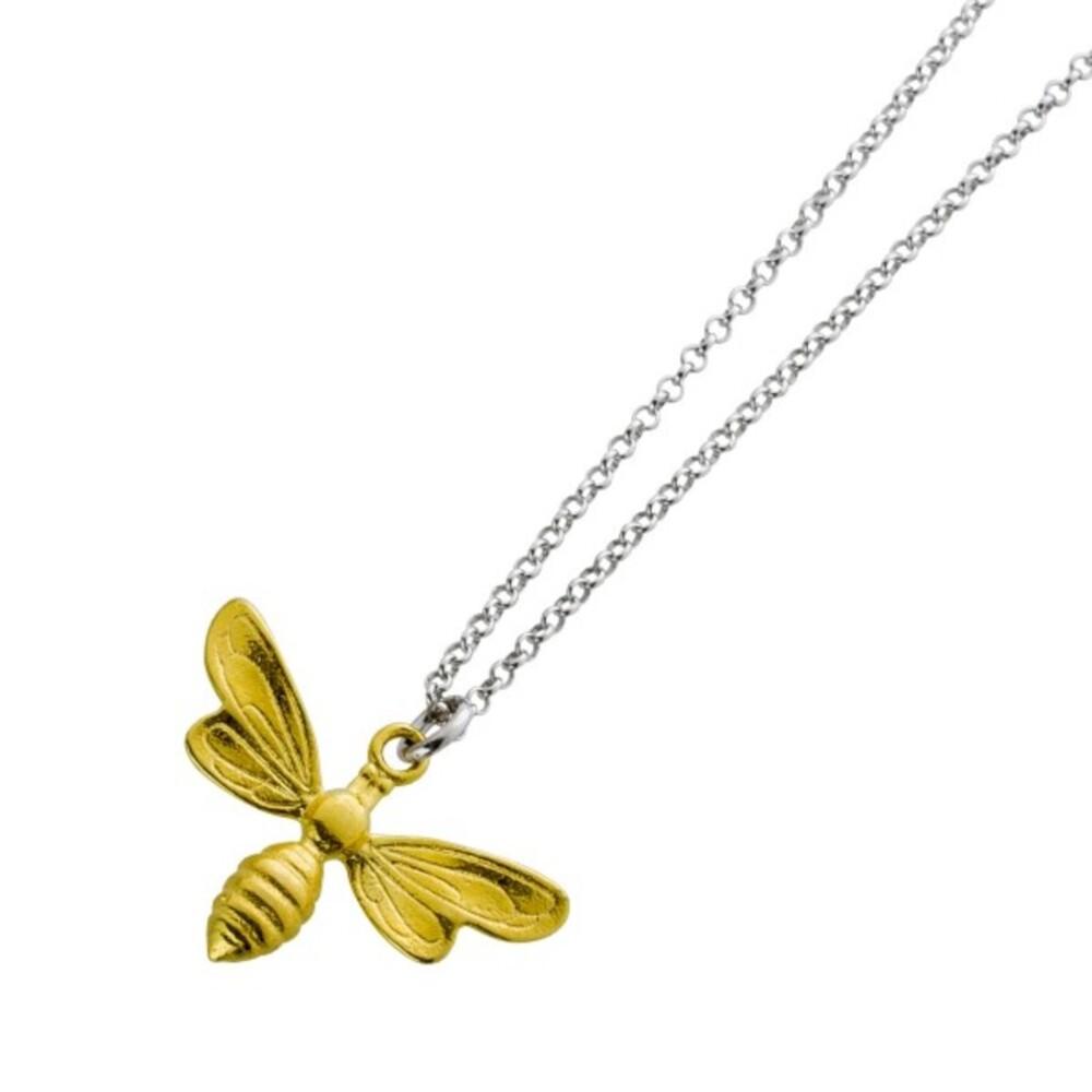 Halskette Biene Silber 925 teils gelb vergoldet Damen Kinder 39+5cm
