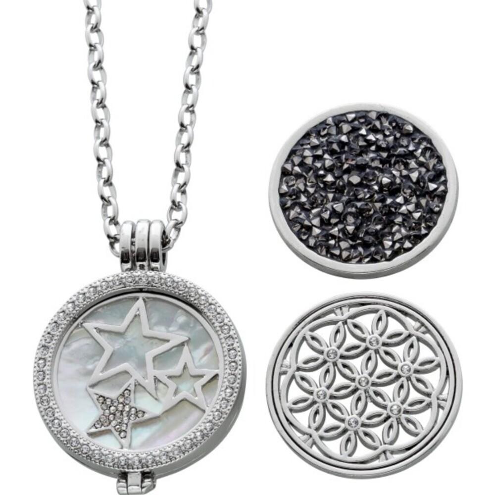 Crystal blue Coin Set 6 teilig Metall Perlmuttscheibe Kristallscheibe graue weisse Kristalle