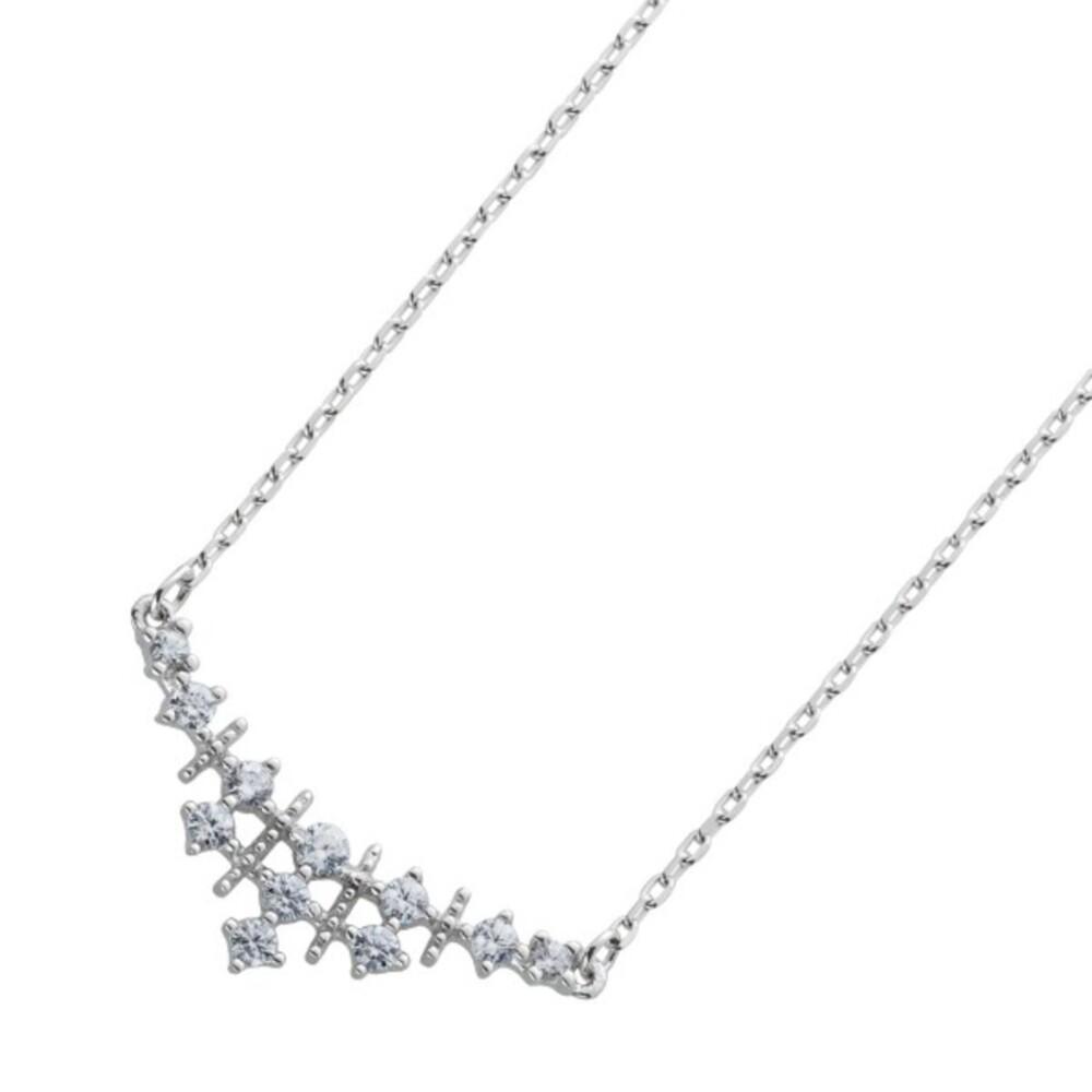 Zirkonia Kette Ankerkette Silber 925/- weisse Zirkonia 40+5cm