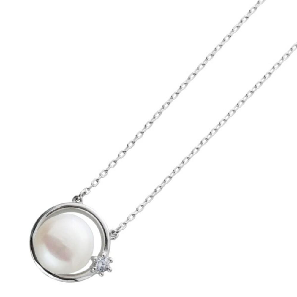 Perlen Kette Collier Silber 925/- Süsswasserperle 10mm Ankerkette 40+5cm