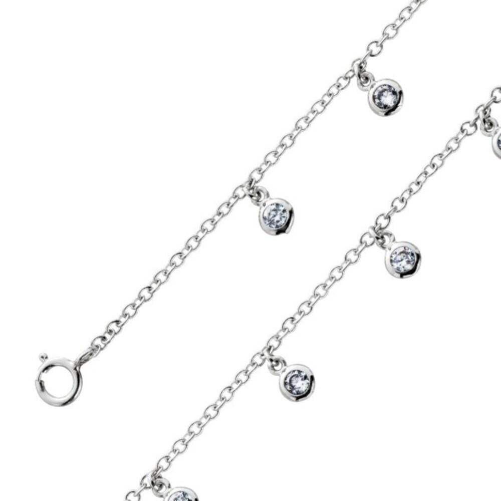 Fußkettchen Fusskette weißen Zirkonia beweglich Silber 925 Damenschmuck 1