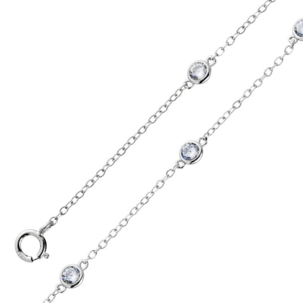 Fußkettchen Fusskette Zirkonia weiß beweglich Silber 925 Damenschmuck  1