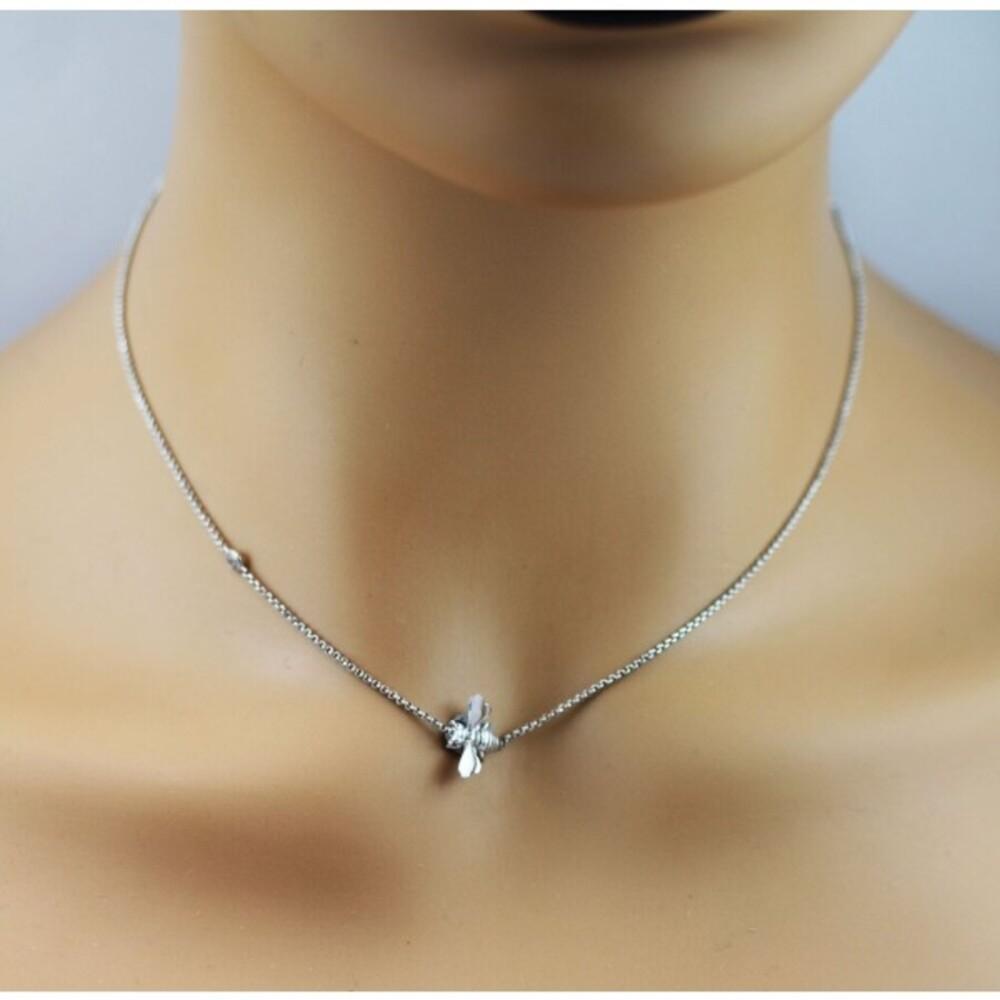 Bienenkette Silber 925 Erbskette Bienenanhänger Zirkonia 40+4cm