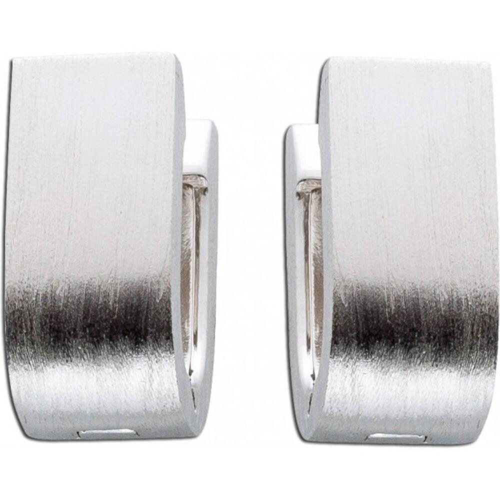 Creolen Silber Klappcreolen Silbercreolen Silberohrringe mattierte Ohrringe Sterling Silber 925_01