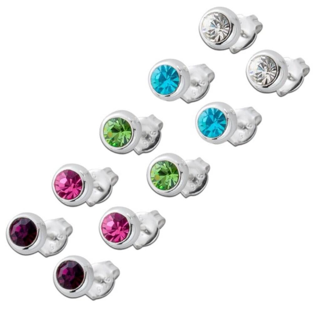 Ohrringe Ohrstecker Set Silber 925 multicolor bunte Kristalle
