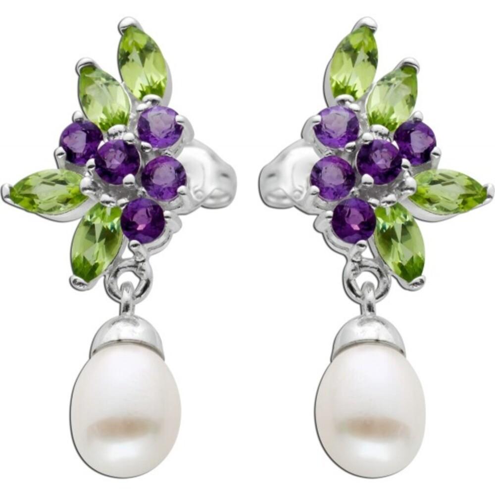 Perlen Ohrringe Ohrstecker Silber 925 bunte Edelsteine weisse Süßwasserzuchtperlen violetter Amethyst grüner Peridot_01
