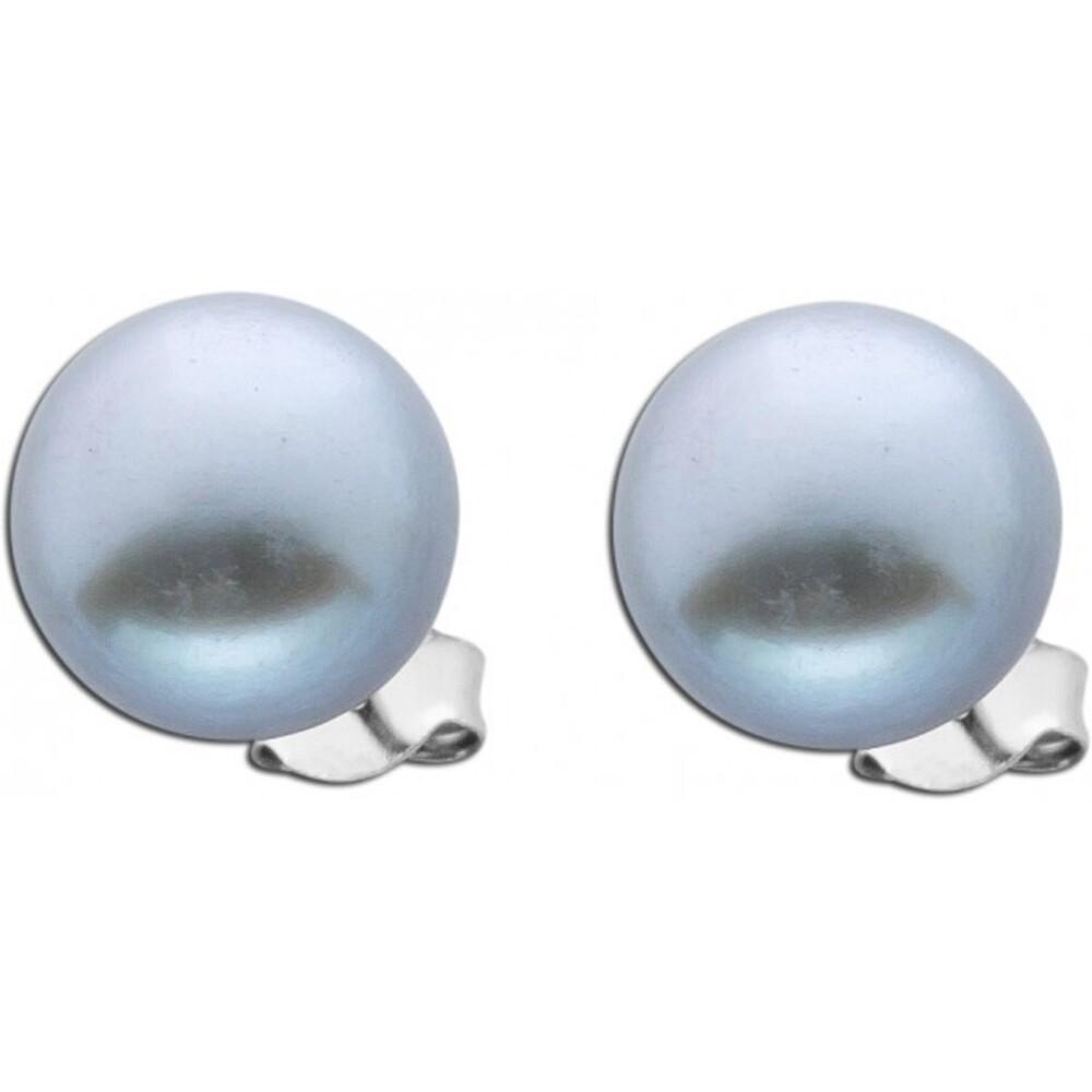 Damen Perlen Silber Ohrringe Ohrstecker Silber 925 runde graue Süßwasserzuchtperlen Damenschmuck Ohrschmuck_01