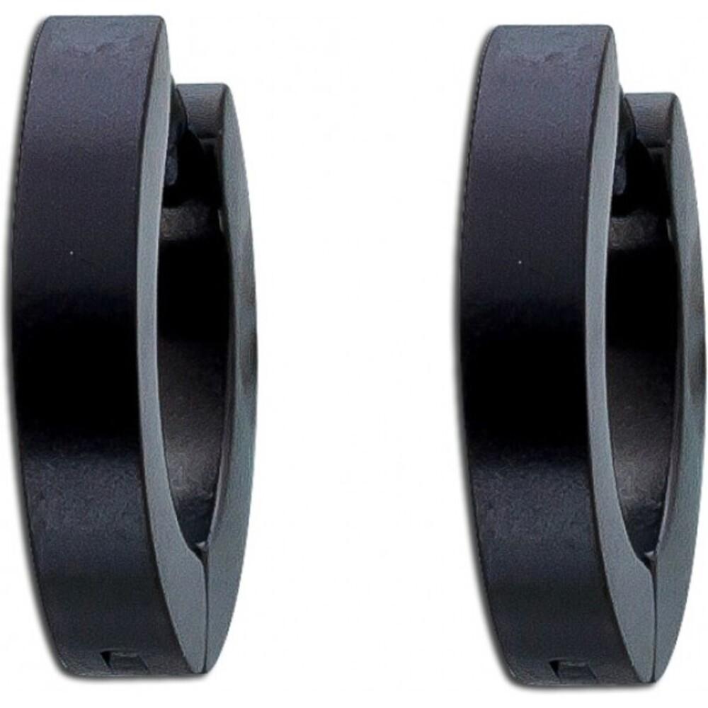 Ohrringe Stahlcreolen Kappcreolen Edelstahl schwarz Herrenohrringe Damenohrringe mattiert Toyo Yamamoto-2